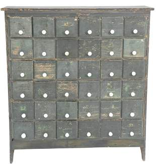 Thirty-Six Drawer Apothecary Cabinet with porcelain