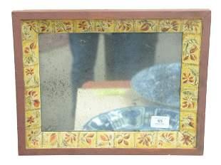 Folk Art Wood Framed Mirror having painted flowers and