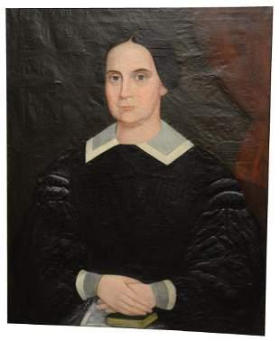 American School (19th century), oil on canvas, folk art