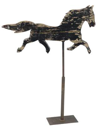 Primitive Wood Horse Weathervane crudely carved in