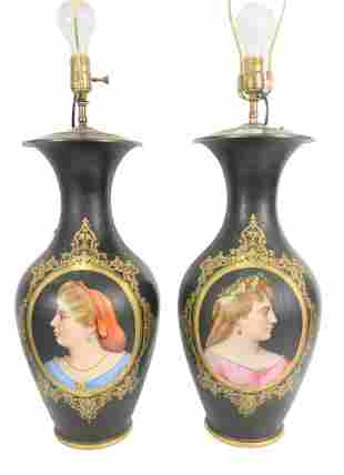 Pair of Paris Porcelain Vases made into table lamps