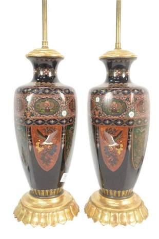 Pair of Large Cloisonne Hexagonal Vases having shield