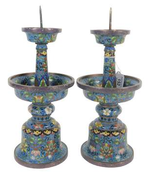 Pair of Chinese Cloisonne Pricket Candle Holders each