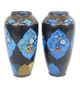 Pair of Chinese Cloisonne Vases, with wide mouth