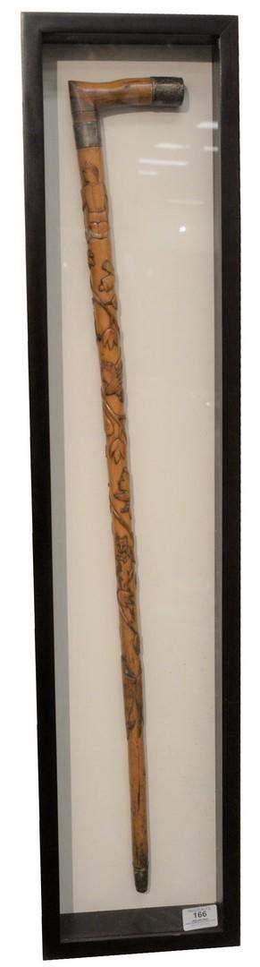 American Carved Civil War Cane, folk art carved with
