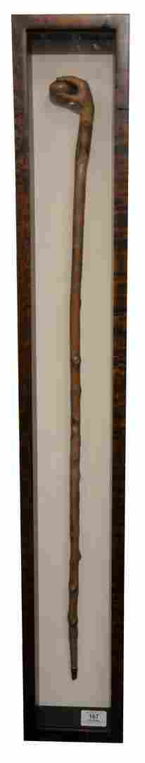 Folk Art Cane, top having carved hand holding a peach,