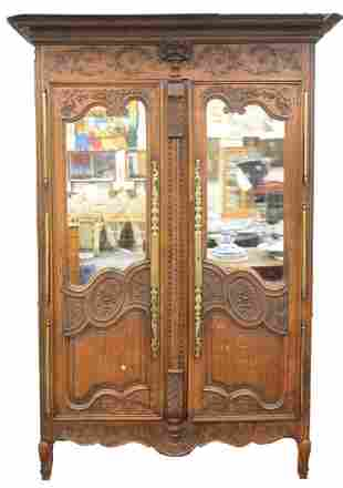 Louis XV Oak Armoire, top with 3D carved basket of