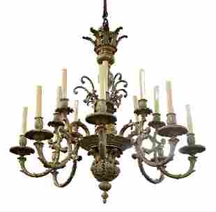Bronze Sixteen Light Chandelier having eight foliate