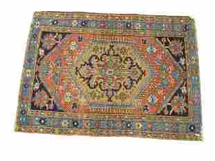 "Heriz Oriental Throw Rug, 3' x 4' 2"", (wear)."
