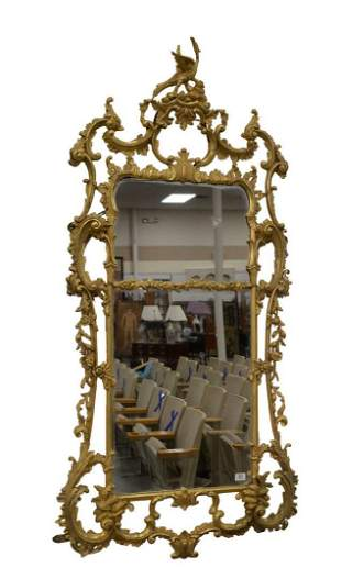 Carved and Gilt Chippendale Two Part Mirror, with