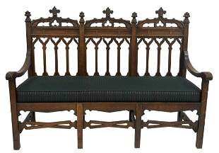 Gothic Style Oak Triple Back Bench, with newly