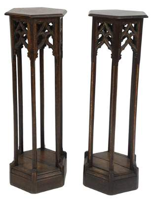 Pair of Gothic Style Oak Pedestals, with six sided top