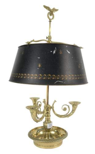 French Bouillotte Table Lamp, having 3 scrolled candle