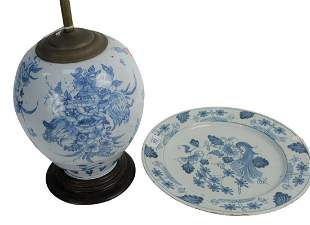 Delft Two Piece Lot to include a vase made into lamp,