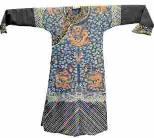 Chinese Embroidered Silk Dragon Robe depicting