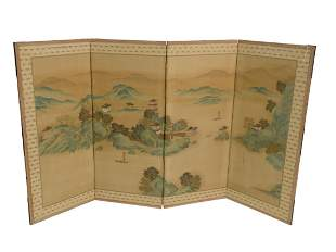 Chinese Four Panel Silk Screen with hand-painted