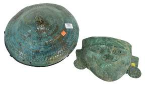 Two Metal Mayan-Style Items to include a face mask,