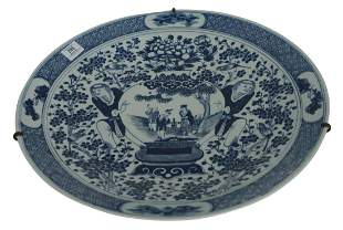 Chinese blue and white Charger depicting Hehe Erxian,