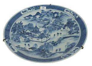 Chinese Blue and White Charger depicting outdoor