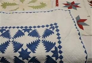 Group of Three Quilts, red white and blue star pattern,