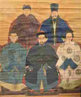 Large Framed Chinese Ancestral Group, painting on