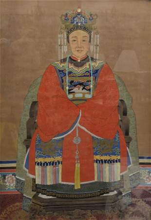 Large Chinese Ancestral Portrait seated scholar figure