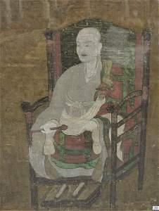 Large Framed Rare Sino-Korean Monastic Portrait of