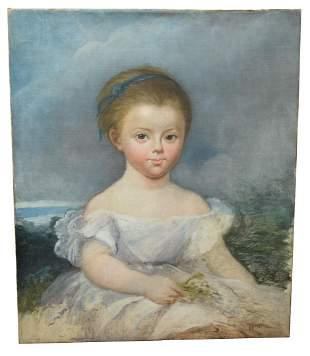 American School (19th Century), portrait of a little