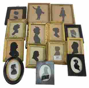 Large Group of 13 Framed Silhouette Portraits, two