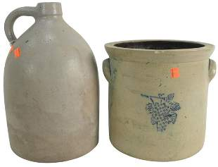 Two Piece Stoneware Lot to include a two gallon crock