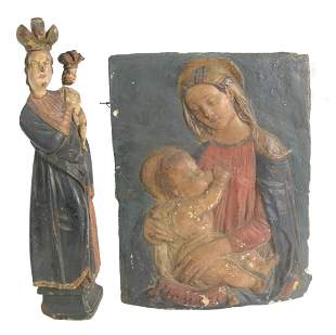 Two-Piece Group to include a painted plaster Madonna