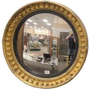 Regency Giltwood and Ebonized Convex Mirror, diameter