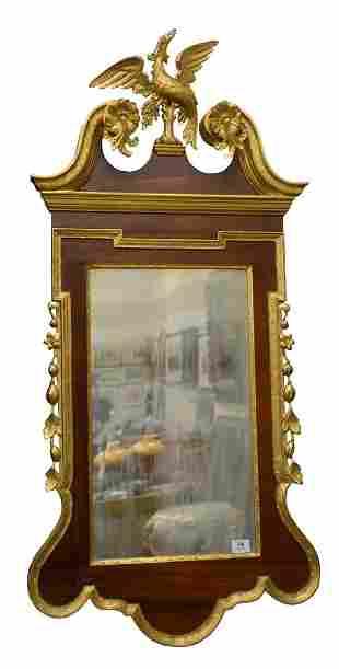 Federal Style Mahogany Mirror, having gilt eagle crest