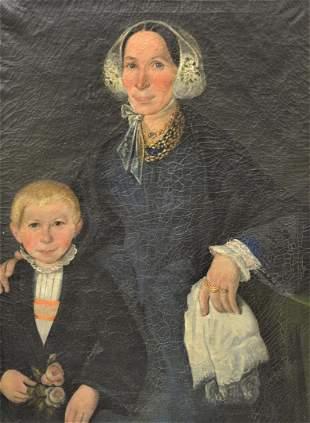 Primitive Portrait, mother wearing a blue dress with