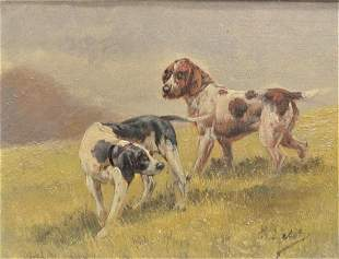 British School (19th Century), two setters, oil on