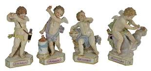 Set of Four Meissen Cherubs, to include Te les Rends