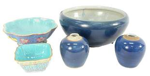 Five Piece Chinese Porcelain Group to include three