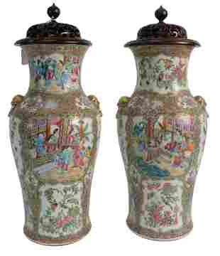 Pair of Rose Medallion Vases having painted panels with