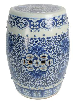 Chinese Blue and White Barrel Garden Seat with floral