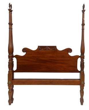 Fineberg Custom Mahogany Four Post Bed with flame