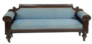 Federal Mahogany Sofa with shell carved rolled arm ends