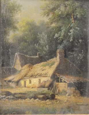 American School (19th century), oil on canvas laid on