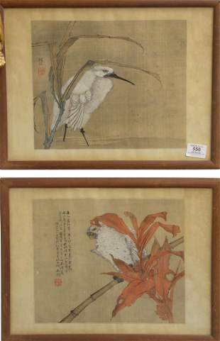Two Chinese Watercolors on Silk to include a white