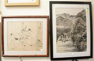 Group of Ten Chinese Watercolors and Paintings, mostly