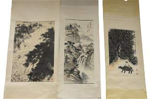 Three Oriental scrolls, watercolor of large river