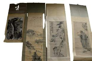 Group of four Oriental scrolls; watercolor on paper of