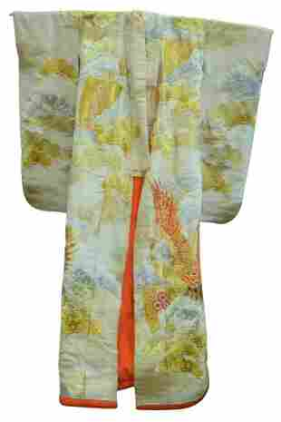 Japanese Kimono having gold and silver colored