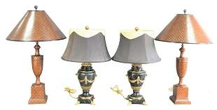 Two Pairs of Table Lamps to include pair brass mounted