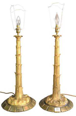 Pair of Gilt Bronze Table Lamps, total height 28 1/2