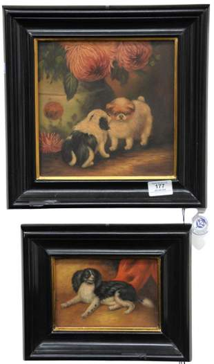 Pair of Small Dog Portraits, possibly late 19th